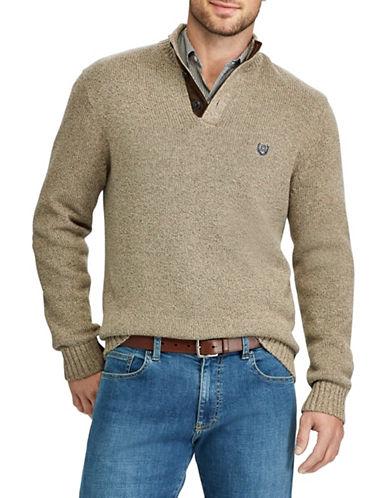 Chaps Mockneck Sweater-BROWN-Large
