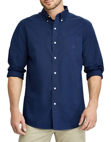 Chaps Stretch Poplin Sport Shirt-NAVY-Small