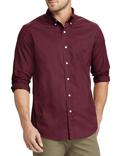 Chaps Stretch Poplin Sport Shirt-RED-Small