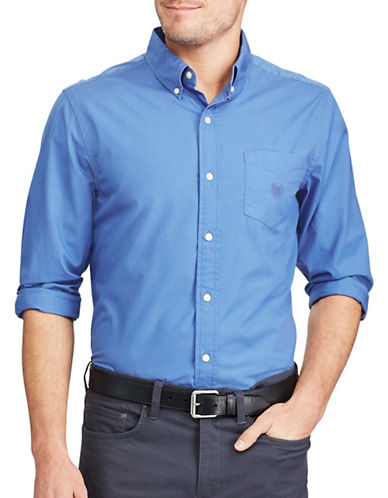 Chaps Stretch Poplin Sport Shirt-BLUE-X-Large