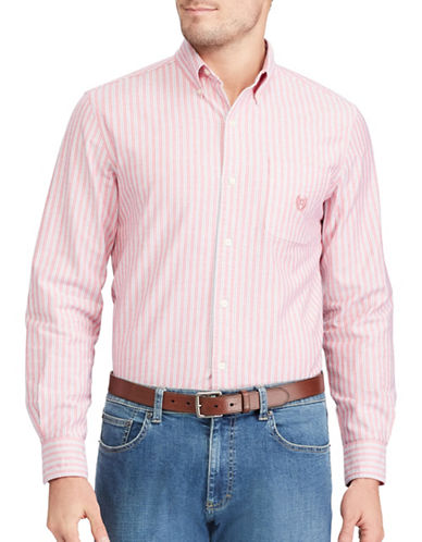 Chaps Striped Stretch Oxford Sport Shirt-PINK-Large
