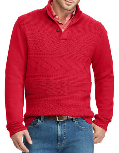 Chaps Patterned Cotton Sweater-RED-Medium