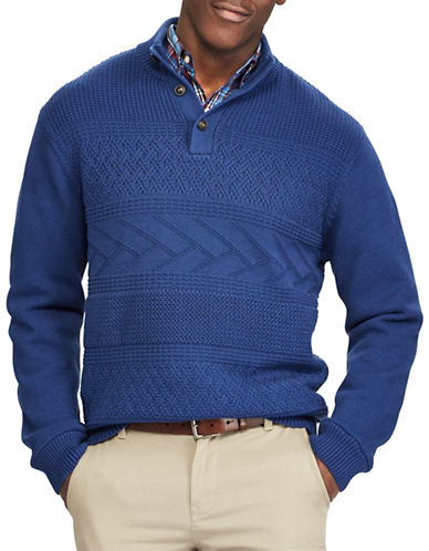 Chaps Patterned Cotton Sweater-BLUE-Medium