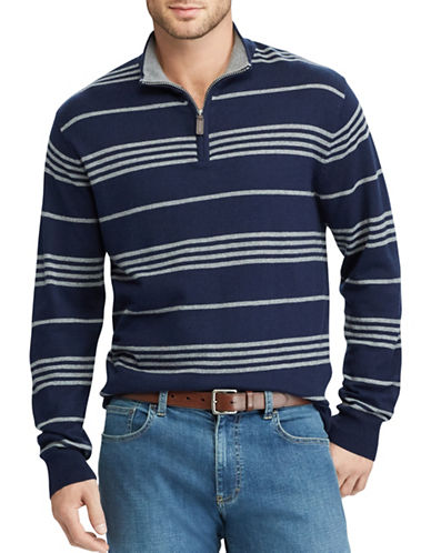 Chaps Striped Mockneck Sweater-NAVY-X-Large