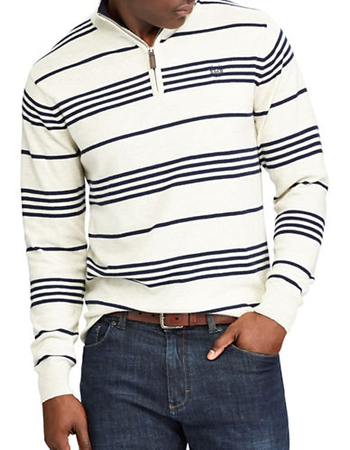 Chaps Striped Mockneck Sweater-NATURAL-X-Large