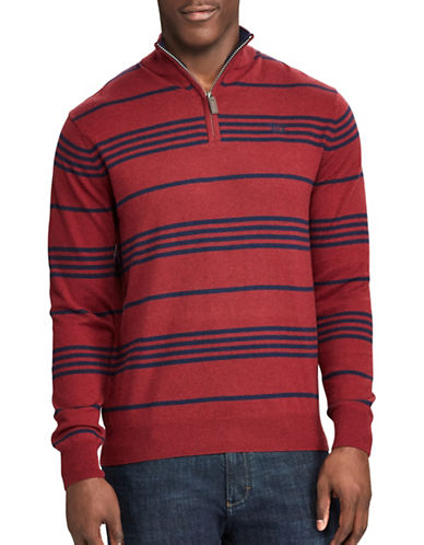 Chaps Striped Mockneck Sweater-RED-X-Large