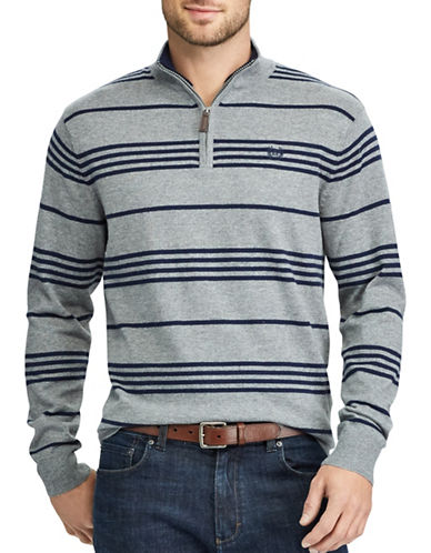 Chaps Striped Mockneck Sweater-GREY-Small