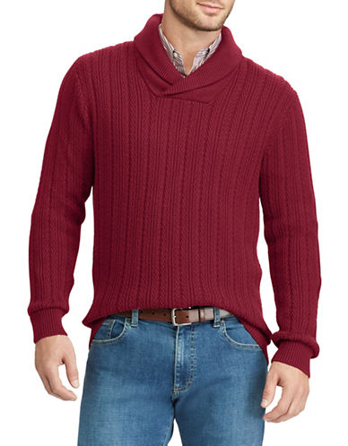 Chaps Crossover Cotton Pullover-RED-X-Large