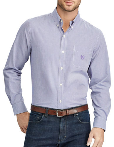Chaps Checked Casual Sport Shirt-PURPLE-Large