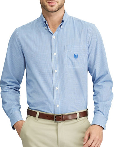 Chaps Checked Casual Sport Shirt-BLUE-Small