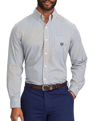 Chaps Checked Sport Shirt-BLUE-Small
