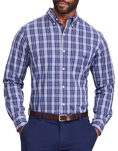 Chaps Plaid Casual Sport Shirt-PURPLE-Small