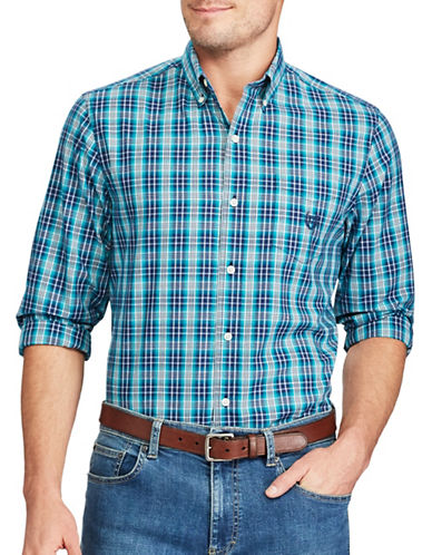 Chaps Plaid Casual Sport Shirt-GREEN-Small