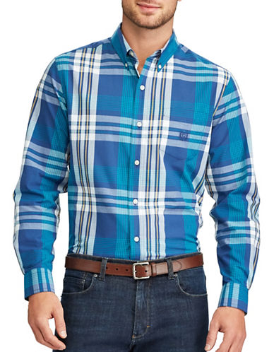 Chaps Plaid Sport Shirt-BLUE-Small