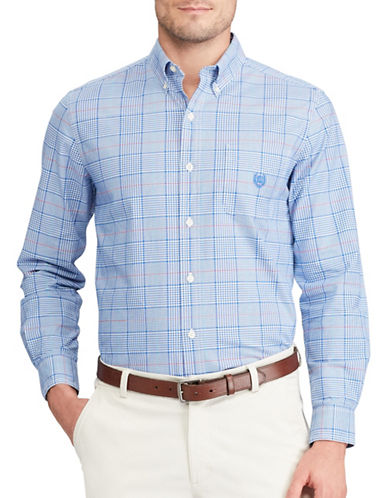 Chaps Plaid Stretch Sport Shirt-BLUE-X-Large