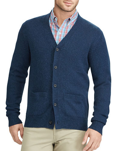 Chaps Cotton V-Neck Cardigan-NAVY-Large