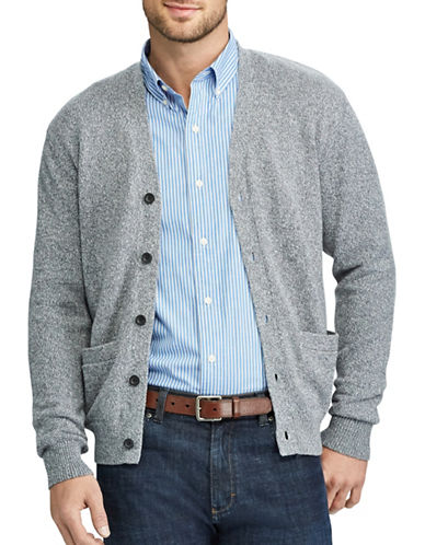Chaps Cotton V-Neck Cardigan-GREY-Medium