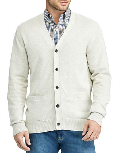 Chaps Cotton V-Neck Cardigan-NATURAL-Medium