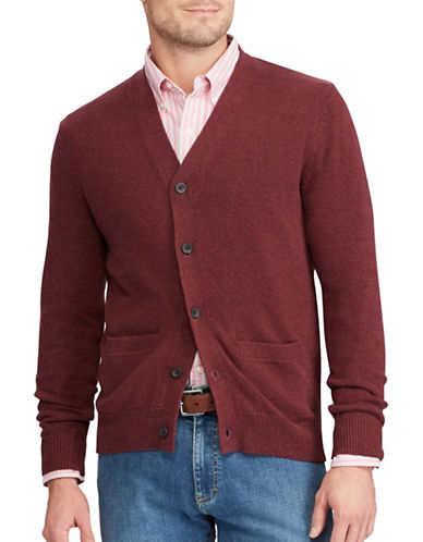 Chaps Cotton V-Neck Cardigan-RED-Small