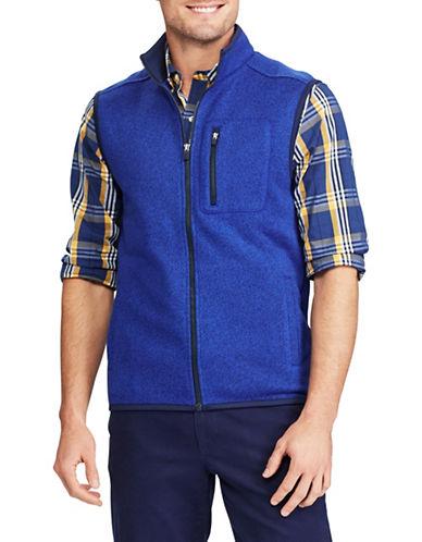 Chaps Fleece Mock Neck Vest-BLUE-X-Large