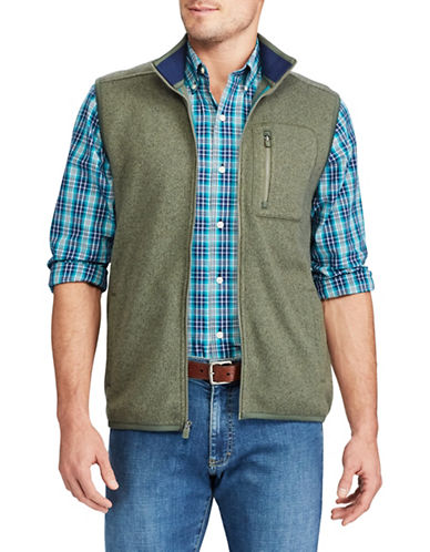 Chaps Fleece Mock Neck Vest-GREEN-Medium