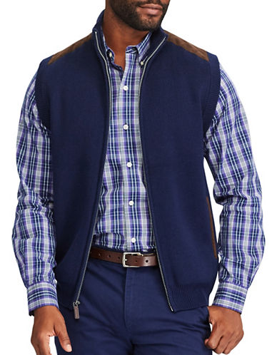 Chaps Full Zip Sweater Vest-NAVY-Small