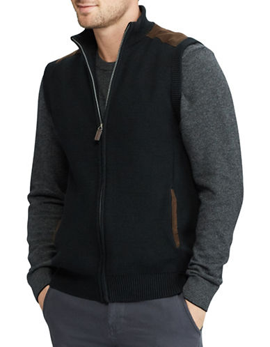 Chaps Full Zip Sweater Vest-BLACK-Small