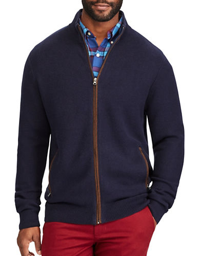 Chaps Full-Zip Sweater-BLUE-Small