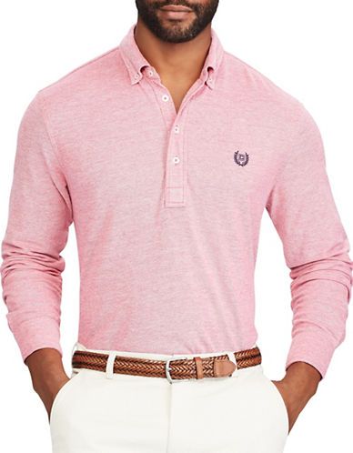 Chaps Big and Tall Cotton Oxford Polo-PINK-2X Tall