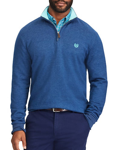 Chaps Interlock Zip Mockneck Pullover-BLUE-1X Tall