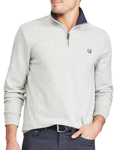 Chaps Interlock Zip Mockneck Pullover-LIGHT GREY-3X Big