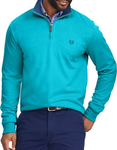 Chaps Interlock Zip Mockneck Pullover-BLUE-2X Big