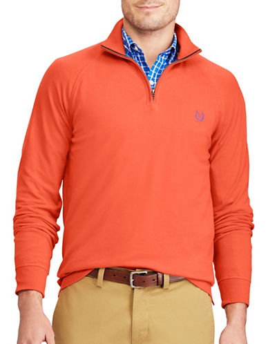 Chaps Big and Tall Stretch Pullover Sweater-ORANGE-1X Tall