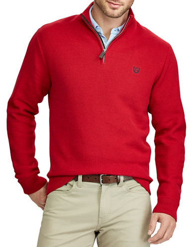 Chaps Zip Mockneck Sweater-RED-3X Big