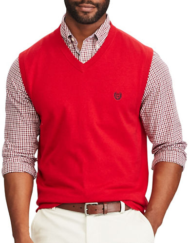 Chaps Cotton Sweater Vest-RED-3X Tall