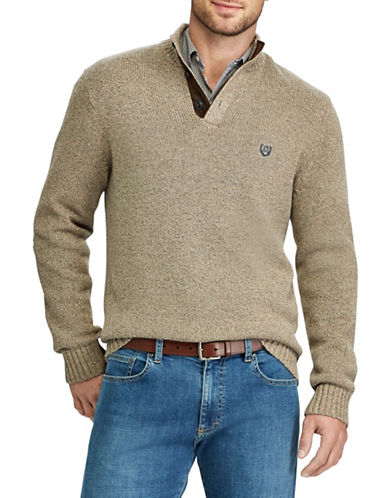 Chaps Mockneck Sweater-BROWN-3X Big