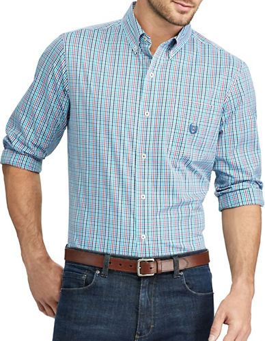 Chaps Checked Stretch Poplin Shirt-BLUE-4X Big