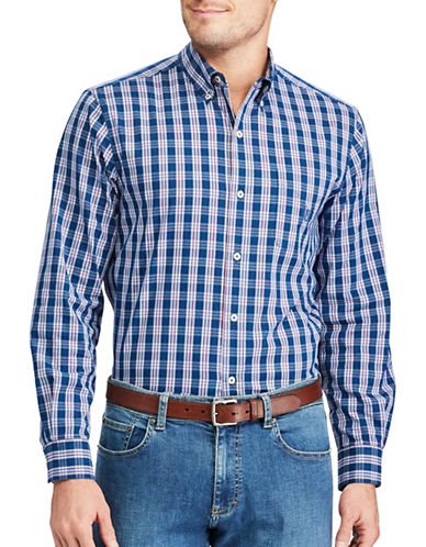 Chaps Plaid Stretch Poplin Shirt-BLUE-2X Tall