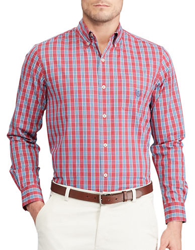 Chaps Plaid Stretch Poplin Shirt-RED-3X Big
