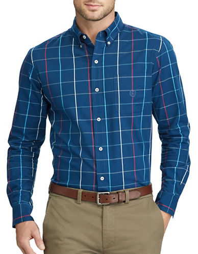 Chaps Windowpane Plaid Stretch Poplin Shirt-BLUE-2X Tall