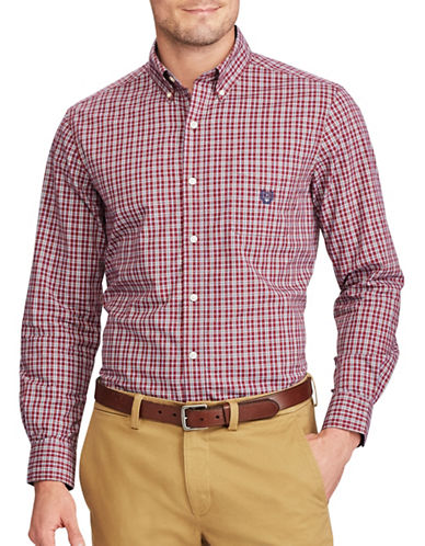 Chaps Plaid Casual Button-Down Shirt-RED-1X Tall
