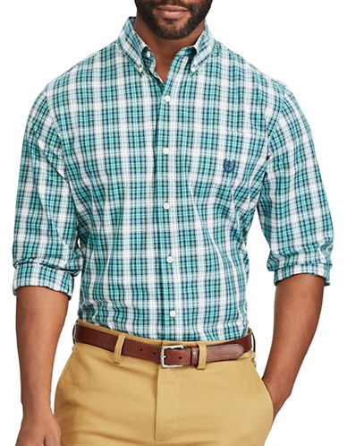 Chaps Plaid Casual Button-Down Shirt-GREEN-1X Tall