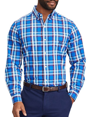 Chaps Plaid Casual Button-Down Shirt-BLUE-Large Tall