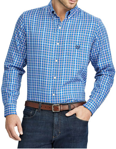 Chaps Big and Tall Checked Twill Shirt-BLUE-Large Tall