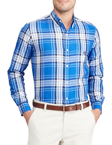 Chaps Big and Tall Plaid Twill Shirt-BLUE-Large Tall