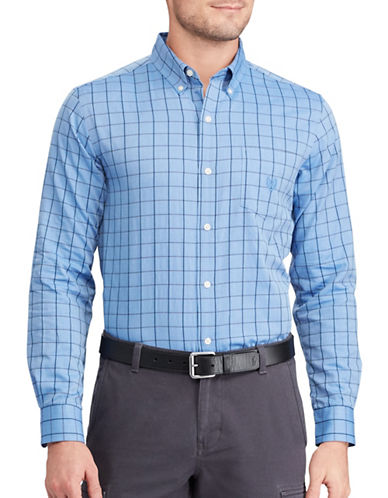 Chaps Big and Tall Herringbone Shirt-BLUE-2X Tall