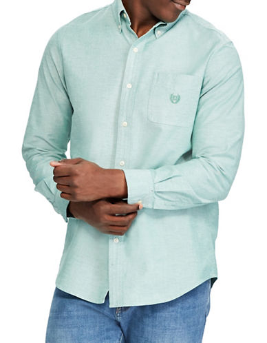 Chaps Stretch Oxford Sport Shirt-GREEN-4X Big