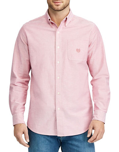 Chaps Stretch Oxford Sport Shirt-PINK-3X Big