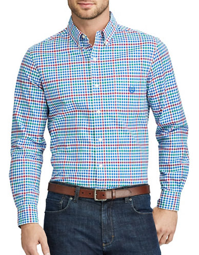 Chaps Checked Stretch Sport Shirt-BLUE-1X Tall