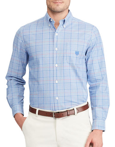 Chaps Plaid Stretch Sport Shirt-BLUE-Large Tall